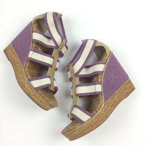 Splendid Klever Stripe Cork Wedge Platform Sandals